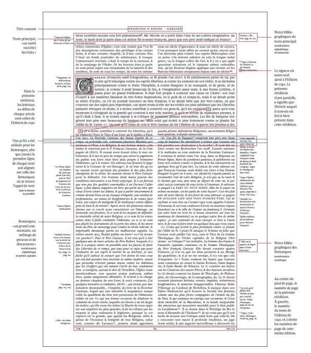 Organisation graphique du Dictionnaire historique et critique, d'après la cinquième édition de 1740. Page XIII de notre édition.